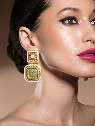Green Gold Tone Kundan Earrings With Onyx