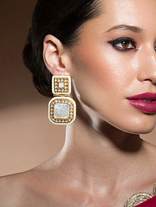 Blue White Gold Tone Kundan Earrings With Mother Of Pearl