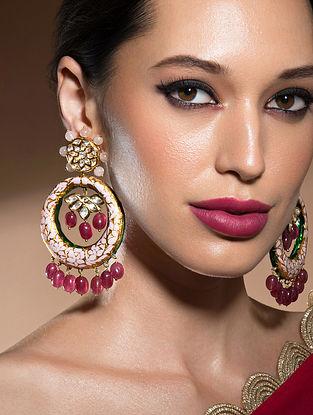 Red Pink Gold Tone Kundan Earrings