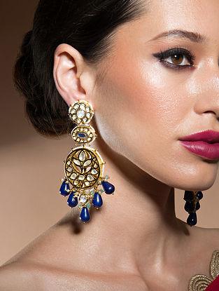Blue Gold Tone Kundan Earrings With Onyx