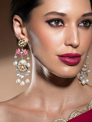Grey Pink Gold Tone Kundan Enameled Earrings With Pearls