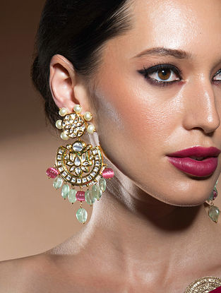 Red Green Gold Tone Kundan Earrings With Fluorides