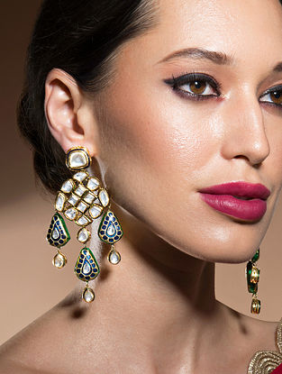 Blue Gold Tone Kundan Meenakari Earrings