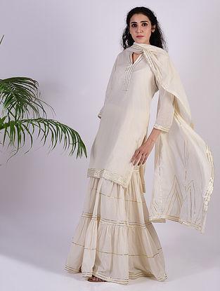 Ivory Gota Trimmed Cotton Kurta with Gharara and Dupatta (set of 3)