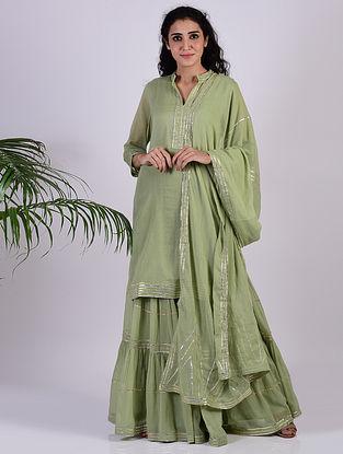 Sage Green Gota Trimmed Cotton Kurta with Gharara and Dupatta (set of 3)