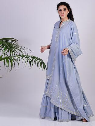 Sky Blue Gota Trimmed Cotton Kurta with Gharara and Dupatta (set of 3)