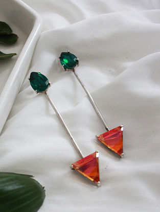 Orange Crystal Silver Earrings