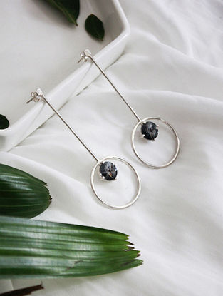 Grey Crystal Silver Earrings