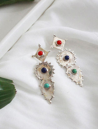 Multicolor Crystal Silver Earrings