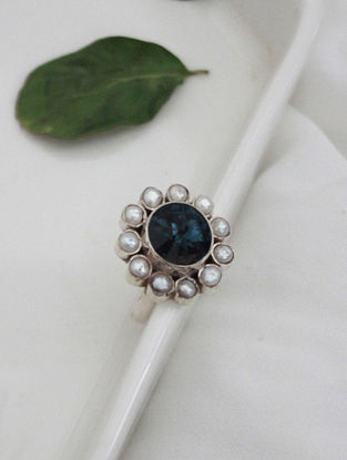 Blue Crystal Silver Ring