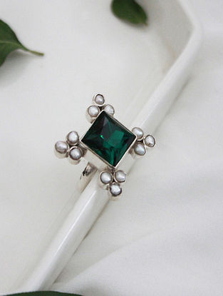 Green Crystal Silver Ring