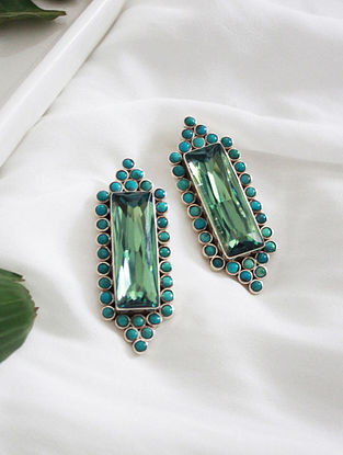 Green Crystal Silver Earrings