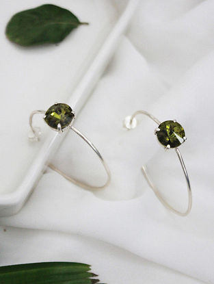 Olive Crystal Silver Earrings