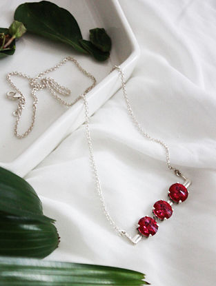Pink Crystal Silver Necklace