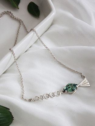 Green Crystal Silver Necklace