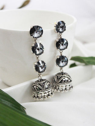 Blue Crystal Silver Earrings