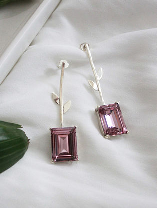 Pink Crystal Silver Earrings