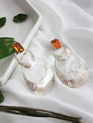 Amber Crystal Silver Earrings