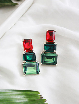 Red and Green Crystal Silver Earrings