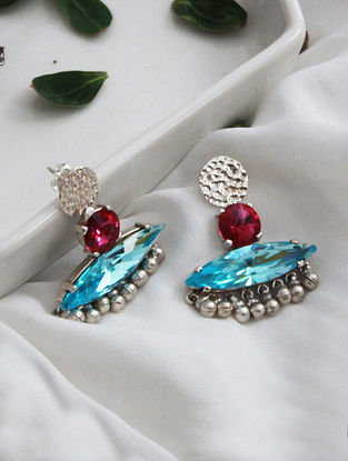 Pink and Blue Crystal Silver Earrings
