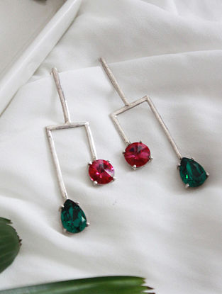 Pink and Green Crystal Silver Earrings