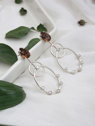 Brown Crystal Silver Earrings