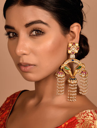 Gold and Polki Earrings with Emerald, Ruby, Pearl and Sapphire