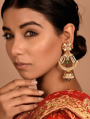 Gold Earrings with Emerald and Ruby