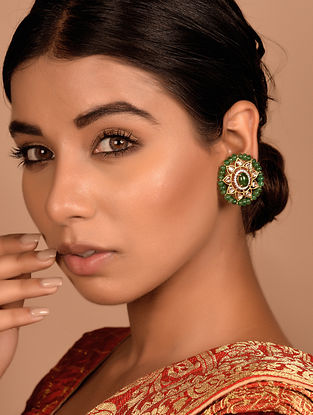 Gold and Polki Earrings with Emerald