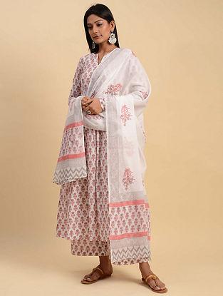 White and Pink Block Printed Cotton Kurta with Palazzos and Dupatta (Set of 3)