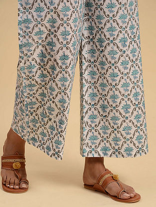 White and Blue Block Printed Cotton Palazzos