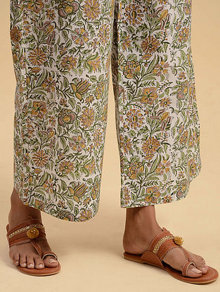 White and Green Block Printed Cotton Palazzos