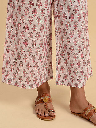 White and Pink Block Printed Cotton Palazzos