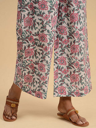 Pink and White Block Printed Cotton Palazzos