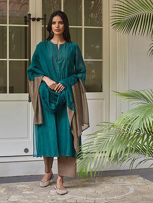 Emerald Tagai Work Kurta with Farshi and Dupatta (Set of 3)