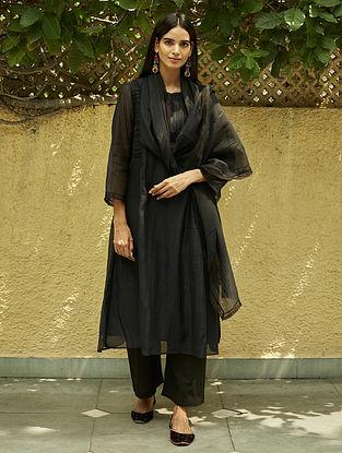 Midnight Black Lace Kurta with Farshi and Stole (Set of 3)