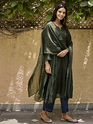 Forest Green Lace Kurta with Farshi and Stole (Set of 3)