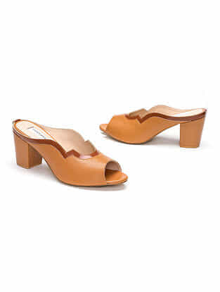 Tan Handcrafted Genuine Leather Block Heels