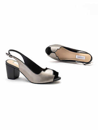Black Silver Handcrafted Genuine Leather Block Heels