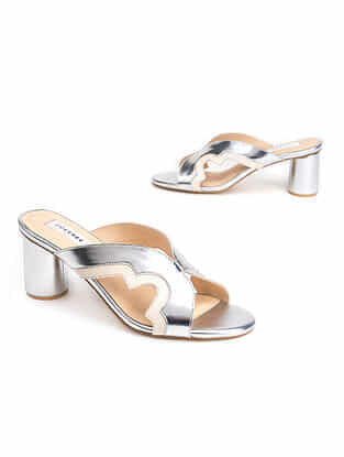 Silver Ivory Handcrafted Genuine Leather Block Heels