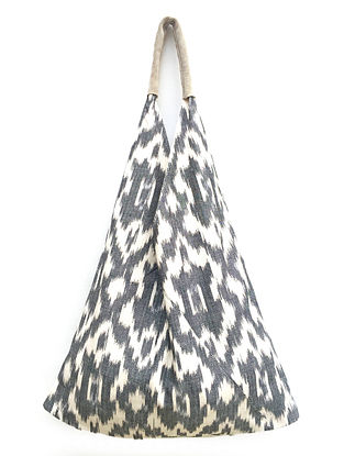 Grey White Handcrafted Ikat Cotton Tote Bag