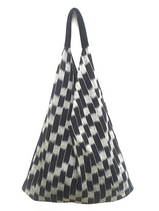 Black White Handcrafted Ikat Cotton Tote Bag