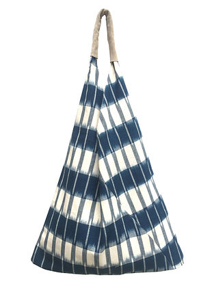 Blue White Handcrafted Ikat Cotton Tote Bag
