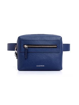 Blue Handcrafted Genuine Leather Belt Bag