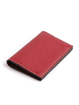 Red Handcrafted Genuine Leather Card Case