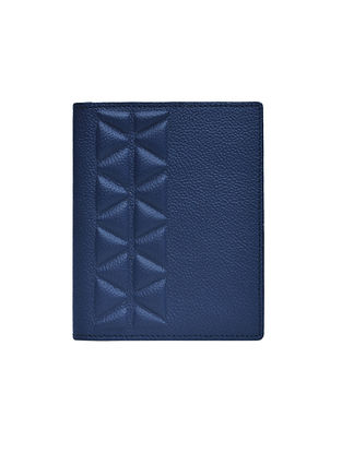 Navy Blue Handcrafted Genuine Leather Passport Case