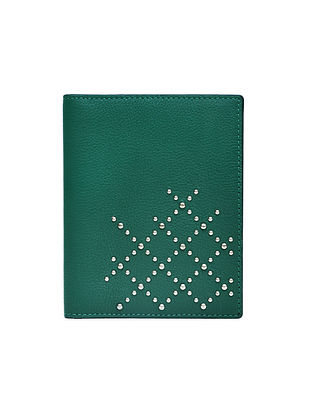 Green Handcrafted Genuine Leather Passport Case