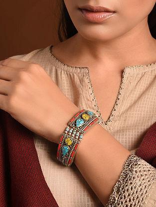 Multicolored Silver Tone Tribal Bracelet