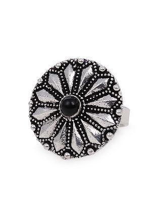 Black Silver Tone Tribal Ring