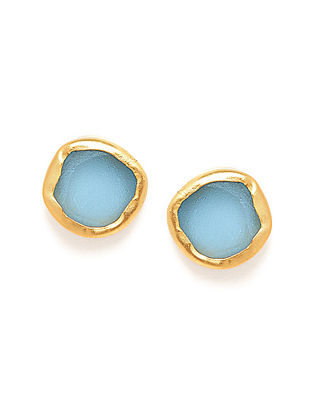 Blue Topaz Gold Plated Earrings